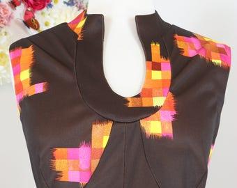 1970s Dress - Vintage A-line Maxi Dress - M/L - Abstract Print - Sleeveless - Full Flare Skirt - Geometric Print - Pink Orange Yellow Brown