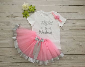 Eight Birthday Girl's outfit, 8 Birthday 3pc outfit , Custom made Birthday outfit