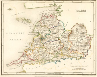 County Clare Ireland - Antique Map 1837