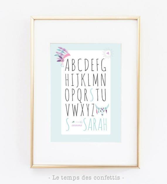 Affiche personnalis e avec le pr nom de votre enfant - Cadre avec prenom bebe ...