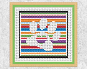 Easy paw print cross stitch pattern, printable dog counted cross stitch chart, cat, pet, full beginner instructions, animal lover gift, PDF