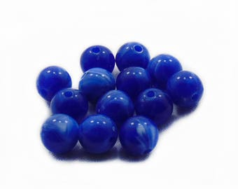10mm Blue Plastic Beads, Plastic Beads, Blue Beads, 10pcs Acrylic Beads, Jewelry Making, DIY Craft Supplies