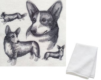 Welsh Corgi Embroidered Cotton Hand Towel Birthday Present Gift