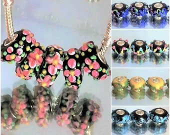 Patterned , detailed Murano handmade  lampwork beads, 925 silver plated copper glass beads