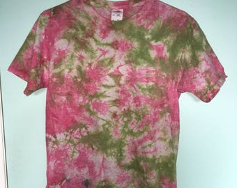 Small Tie Dye T-Shirt - Pink and Green