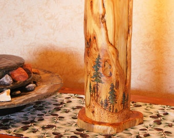 Unique Hand-Crafted Log Lamp/Log Lamp/Rustic Lamp/Cabin Lamp/Rustic Decor/Rustic Furniture/Hand-Painted Lamp