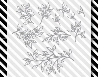Laurel leaf svg cut file - leaves design pack - svg branch design- dxf file - svg cut file - leaves svg - farmhouse cut file - dxf leaf