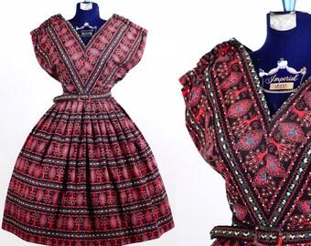 Vintage 1950s Tree of Life Novelty Print Dress *AS IS*/ medium