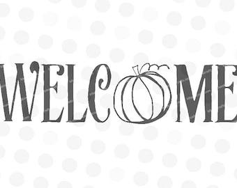 Welcome Pumpkin Svg - Pumpkin Welcome Svg - Fall Pumpkin Svg - Pumpkin Svg Files - Fall Svg - Welcome Svg - Svg Welcome - Svg Pumpkin Design