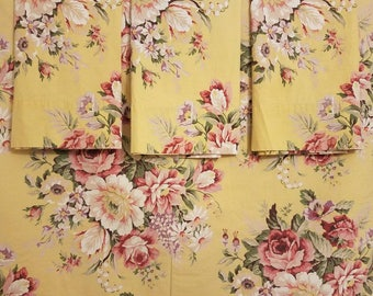5 piece Brooke Sophie yellow rose/floral full sheet set pillowcases flat/fitted sheets
