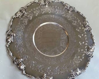 On Sale Vintage Silver Tray, Round Silver Tray, Raised Edging, Grapes, Floral, Scroll, Dessert Tray, Wedding Decor, Vintage Serving Tray