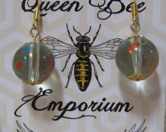 Multi-colored clear glass beaded earrings - gold filled hooks