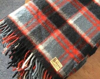 "1960's New Zealand wool travel rug Onehunga Tiki large 56"" × 72"" fringed Woolen Picnic Blanket throw, caravan , red, grey, black plaid ,"