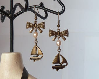 boat and pearl rockabilly earrings boucles d'oreilles bateau et perle pinup marin