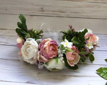 Flowers crown. Solk flowers. Wedding. Spring. Easter