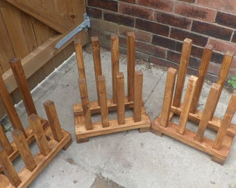 wooden wellington boot holder.oak stained,weather proof.