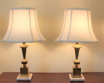 PAIR Vintage Brass with Marble Base Table Lamps