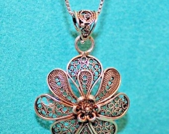 Antique Old Vintage Sterling Silver Filigree Flower Pendant Necklace, Patina Present, Charming Floral Design