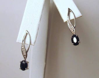 Vintage 10K Solid White Gold Blue Sapphire & Diamond Stick Earrings
