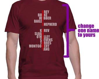Custom Name Grey's printed on MEN tee T-shirt Maroon