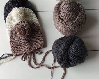 Photography prop newborn knitted wrap set