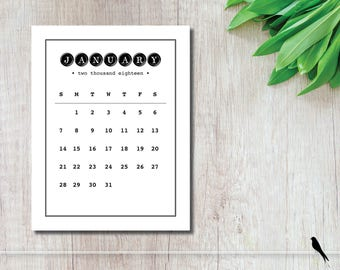 2018 Printable Wall Calendar - Vintage Inspired, Tall, Modern Black & White Typewriter 12 Month Wall Calendar - Instant Download Calendar
