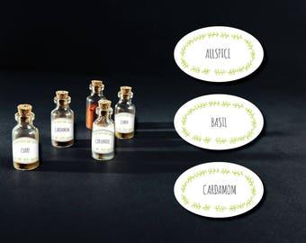 DIY Printable Spice Jar Labels - Oval Spice Jar Labels - Home Organizing - Printable Stickers - Instant Download