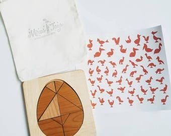 Egg tangram - Easter tangram - Easter gift - Easter basket - stem toy - gift for kids - wooden puzzle - Montessori - Waldorf - wooden toy