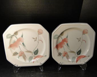 "TWO Mikasa Silk Flowers Salad Plates F3003 8 1/4"" 2 EXCELLENT!"