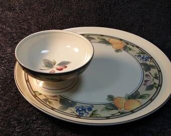 Mikasa Garden Harvest Snack Crudite Chip Dip Platter Bowl CAC29 EXCELLENT!