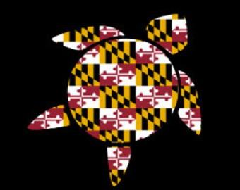 Maryland Car Decal - Maryland Turtle Decal - Maryland Turtle Yeti - Maryland Car  - Maryland State Decal - Maryland Car Sticker