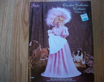 Barbie Crochet Collector Costume Volume 32, 1896 christing day doll dress,hat,boots,baby's christening set, crochet doll clothes pattern
