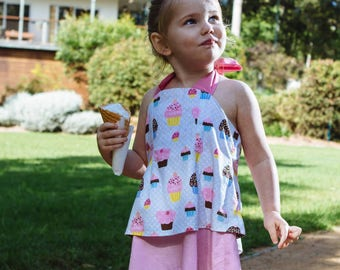Girls cupcake dress -  Pink cotton dress - birthday dress - girls clothing - retro dress - Party dress - girls dresses - pink cupcakes .