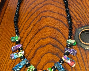 Party Color Sea Sediment Imperial Jasper Necklace