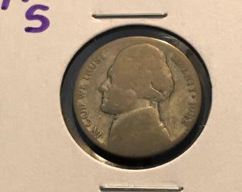 1942 S Jefferson Nickel - 35% Silver War Nickel -#914