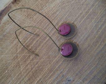 Bronze earrings with plum and bronze enamel sequin