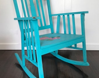 Wooden Rocking Chair, Shabby Chic, French Country, Roses, Turquoise, Distressed, Farmhouse, Vintage, Indoor, Outdoor