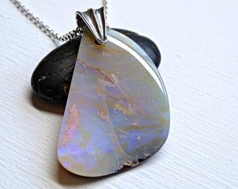 big Boulder opal pendant, large Australian opal necklace, big opal pendant men anniversary gift opal, October birthstone pendant
