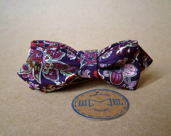 Bow tie floral adjustable purple to order