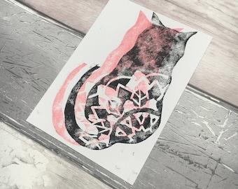 Mandala Cat Black & Pink Lino Print, Cat Print, Kitten Postcard, Cat Postcard