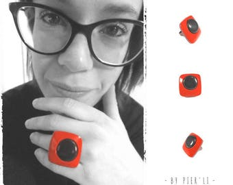 Red and black Adjustable ring
