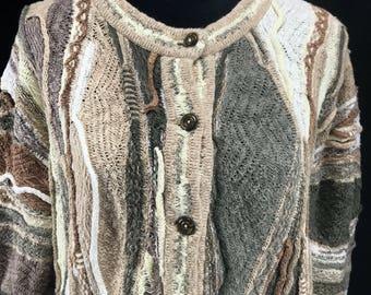 Vintage Cuggi Cardigan Sweater Coogi Women's M 3-D Linen Pearlized Button Pre 1987