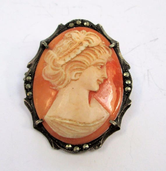 Art Deco Sterling silver marcasite shell cameo brooch or pendant