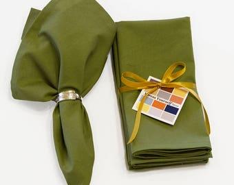 Olive Green Cotton Napkins Set of Four, 18 x 18 Olive Green Napkins with Mitered Corners, Fall Olive Green Napkins, Custom Sized Napkins