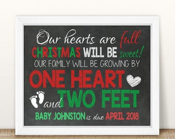 PRINTABLE Christmas Pregnancy, Christmas Pregnancy Announcement, Growing By One Heart And Two Feet, Chalkboard Sign, Christmas Sign