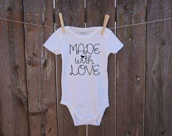 made with love custom baby onesie