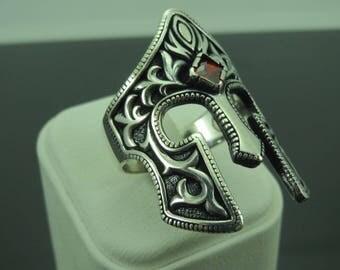 Turkish Handmade Jewelry 925 Sterling Silver Ruby Stone Men's Ring Sz 11