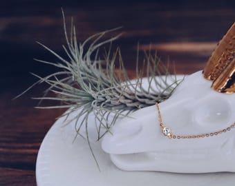 Tiny CZ necklace, Gold CZ necklace, Sterling silver CZ necklace, Tiny diamond necklace, Tiny solitaire necklace, Dainty diamond necklace