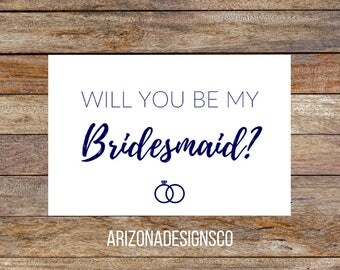 Will You Be My Bridesmaid Card Navy   Bridesmaid Gift, Wedding Invite, Wedding Gift   Instant Download