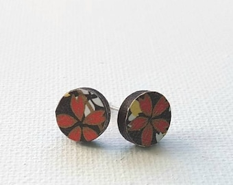 Japanese floral wooden stud earrings - Japanese Yuzen paper wooden round stud earrings black red gold